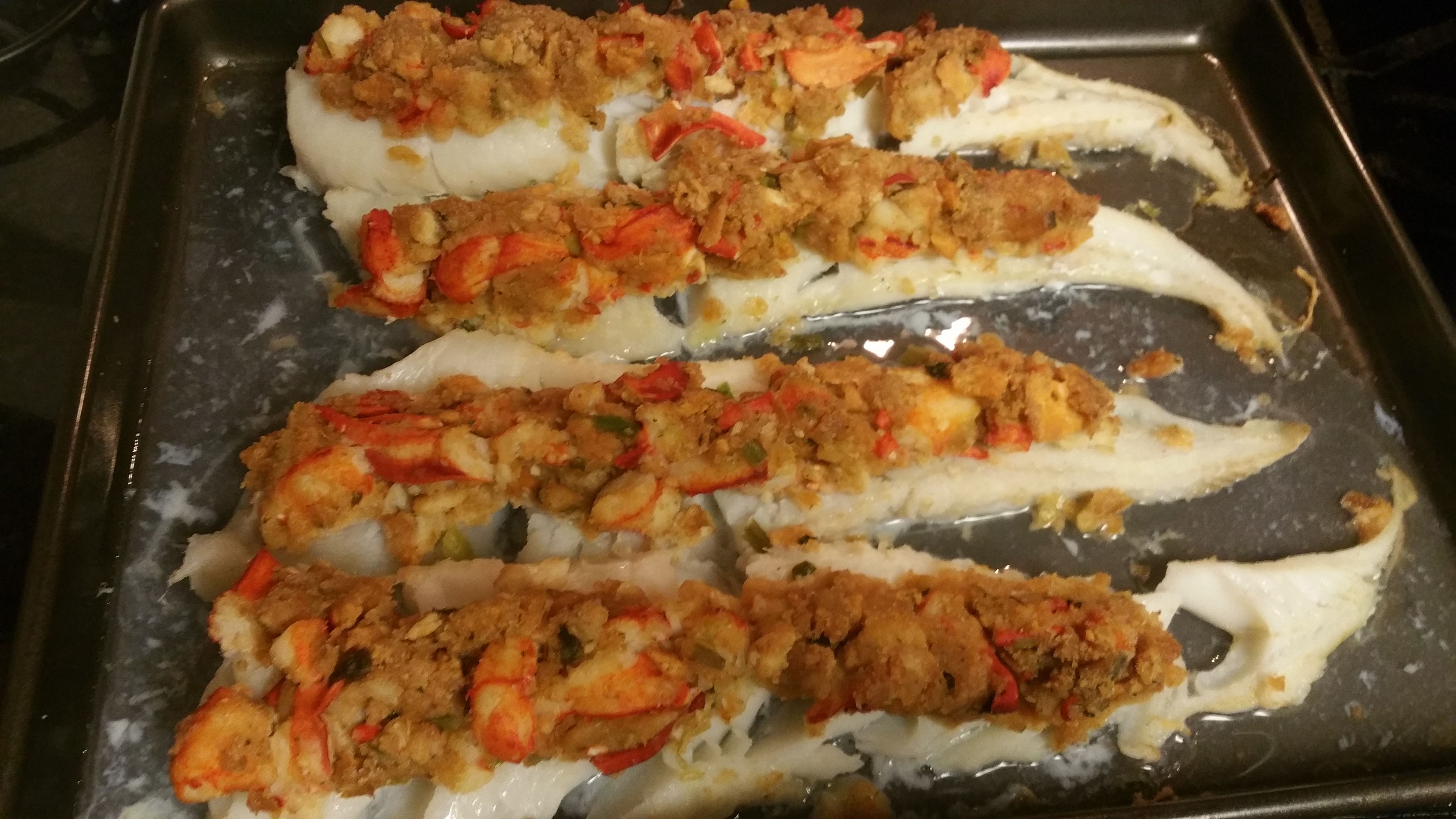 Baked cod with lobster stuffing big daddys recipes for Fish daddy s menu